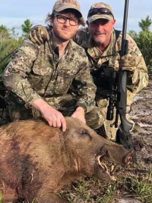 Two hogs down! Tons of hogs moving, now is the time to book your hunt!   Give us