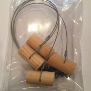 "Wooden Pegs (4 per Pack) with 18"" Stainless Cable Leader and Swi"